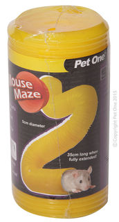 Pet One Tunnel Mouse Maze 5cm Dia X 35cm L Yellow