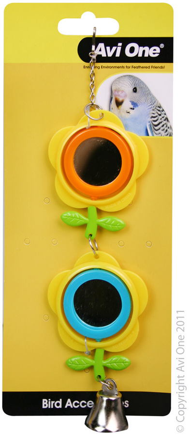 Avi One Bird Toy - Double Buttercup Mirror